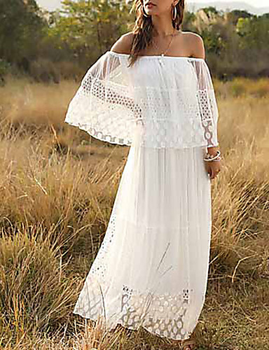 cheap For Young Women-Women's Maxi A Line Dress - 3/4 Length Sleeve Solid Color Ruffle Summer Off Shoulder Holiday Beach White S M L XL / Lace