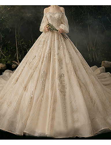 cheap Wedding Dresses-Ball Gown Sweetheart Neckline Watteau Train Lace Long Sleeve Formal Wedding Dress in Color Wedding Dresses with 2020