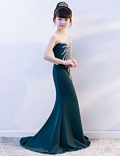 Mermaid / Trumpet Court Train Wedding / Party Pageant Dresses - Spun Rayon Long Sleeve Illusion Neck with Crystals / Rhinestones