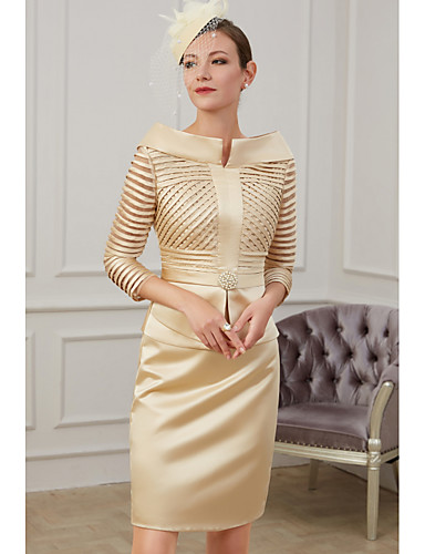 cheap Mother of the Bride Dresses-Sheath / Column Mother of the Bride Dress Plus Size Off Shoulder Knee Length Polyester 3/4 Length Sleeve with Ruching 2020