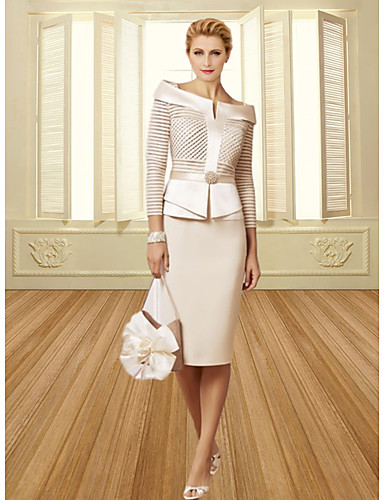 cheap Wedding Guest Dresses-Sheath / Column Mother of the Bride Dress Elegant Vintage Plus Size Bateau Neck Knee Length Satin 3/4 Length Sleeve with Sash / Ribbon Crystals 2020