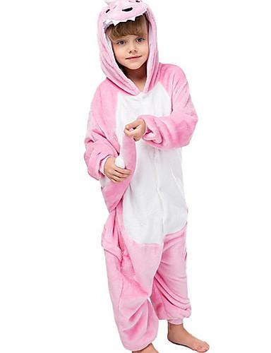 baratos Engrenagem do bebê-Infantil Para Meninas Férias Pijamas Fantasias Festival Dinossauro Animal Desenho Animado Roupa de Dormir Rosa