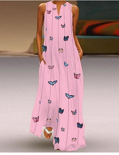 cheap Print Dresses-Women's A-Line Dress Maxi long Dress - Sleeveless Butterfly Animal Print Summer V Neck Casual Holiday Vacation Beach 2020 White Yellow Blushing Pink Light Blue S M L XL XXL XXXL XXXXL XXXXXL