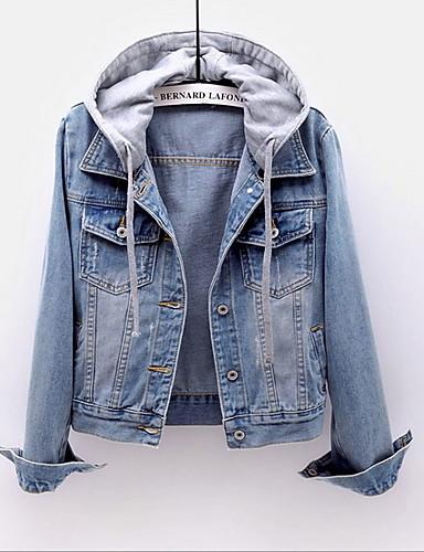 رخيصةأون ملابس نسائية-نسائي مناسب للبس اليومي عادية جاكيت, ألوان متناوبة مع قبعة كم طويل بوليستر أزرق / أزرق فاتح