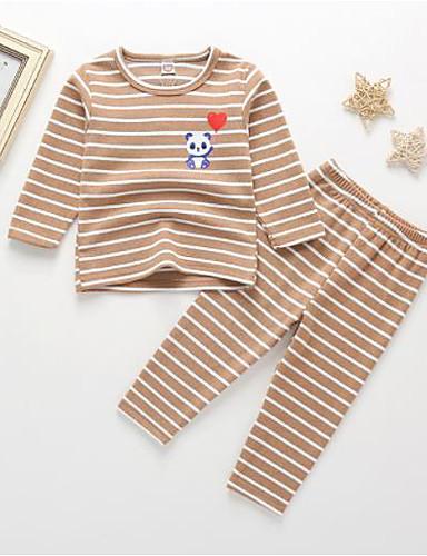 baratos Engrenagem do bebê-Bébé Para Meninas Listrado Roupa de Dormir Castanho Claro
