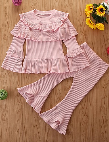 cheap Kids in home-Kids Girls' Basic Solid Colored Long Sleeve Clothing Set Blushing Pink