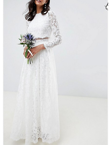 cheap Wedding Dresses-Two Piece / A-Line Jewel Neck Floor Length Polyester / Lace Long Sleeve Casual / Boho Plus Size Wedding Dresses with Draping 2020