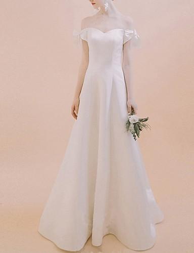 cheap Wedding Dresses-A-Line Off Shoulder Floor Length Chiffon Over Satin Short Sleeve Beach Wedding Dresses with Bow(s) 2020