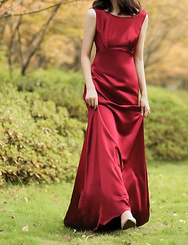 cheap Wedding Dresses-Sheath / Column Jewel Neck Sweep / Brush Train Chiffon Over Satin Sleeveless Beach Red Wedding Dresses with Draping 2020