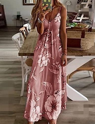 cheap Print Dresses-Women's Swing Dress Maxi long Dress - Sleeveless Floral Print Summer V Neck Plus Size Casual Beach Daily 2020 Blue Purple Blushing Pink Fuchsia Green Gray S M L XL XXL XXXL XXXXL XXXXXL
