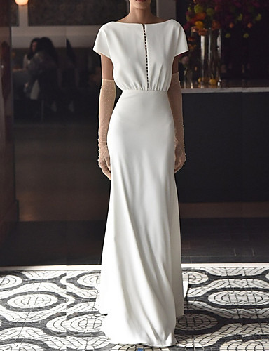 cheap Wedding Dresses-Mermaid / Trumpet Off Shoulder Sweep / Brush Train Chiffon Over Satin Short Sleeve Beach Wedding Dresses with Draping 2020