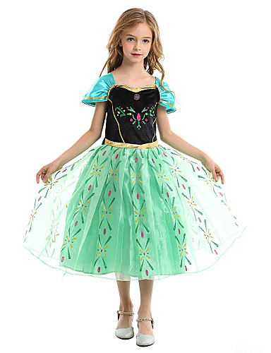 cheap Movie & TV Theme Costumes-Princess Anna Dress Party Costume Christmas Dress Flower Girl Dress Kid's Girls' A-Line Slip Christmas Halloween Children's Day Festival / Holiday Polyester Green / Green (With Accessories) Carnival