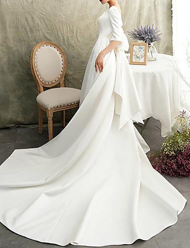 cheap Wedding Dresses-A-Line Bateau Neck Watteau Train Satin Half Sleeve Formal / Vintage Elegant Wedding Dresses with Bow(s) 2020