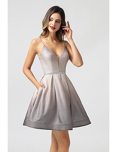cheap Cocktail Dresses-A-Line Beautiful Back Flirty Homecoming Cocktail Party Dress Spaghetti Strap Sleeveless Short / Mini PU with Sash / Ribbon Criss Cross Beading 2020