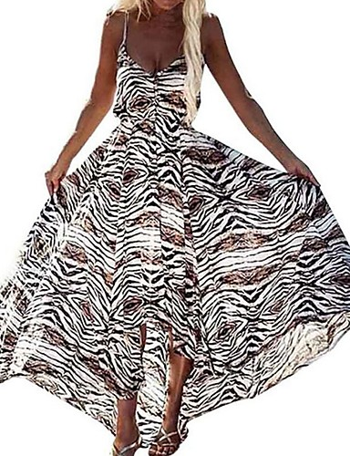 cheap Boho Dresses-Women's Maxi Brown Dress Swing Leopard Strap S M