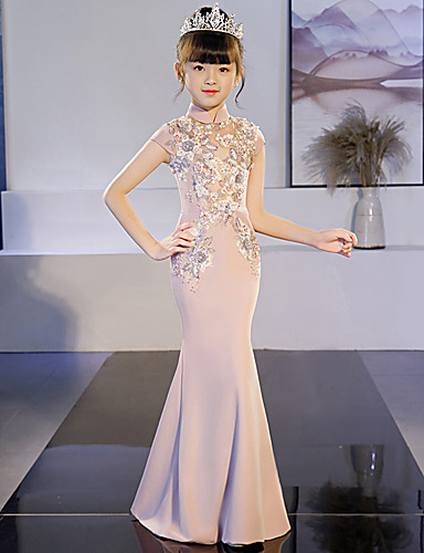 Mermaid / Trumpet Floor Length Wedding / Party Pageant Dresses - POLY Cap Sleeve High Neck with Lace