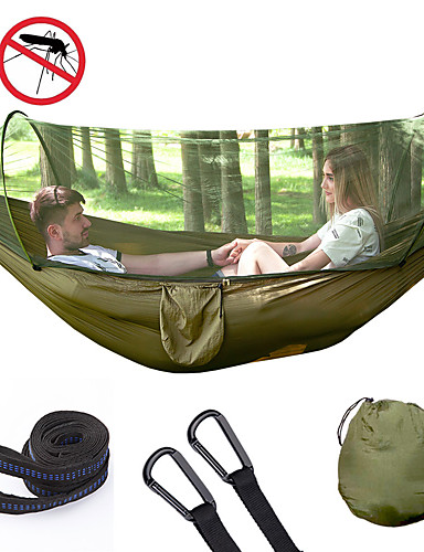 cheap See, No Longer Limited To Distance!-Camping Hammock with Pop Up Mosquito Net Double Hammock Outdoor Automatic Open Hammock Portable Breathable Anti-Mosquito Parachute Nylon with Carabiners and Tree Straps for 2 person 250*120