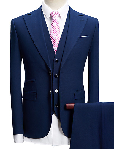 זול חתן ושושבין-טוקסידו גזרה מחוייטת סגור Single Breasted Two-button פוליאסטר עם טקסטורה / בריטי / אופנתי