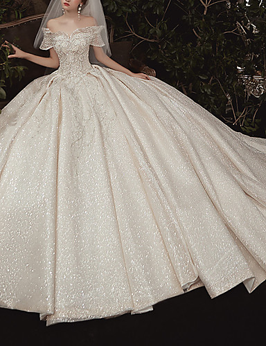cheap Wedding Dresses-Ball Gown Wedding Dresses Off Shoulder Watteau Train Lace Cap Sleeve Formal Romantic Wedding Dress in Color with Ruched 2020