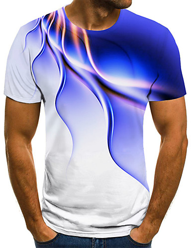 olcso Men's 3D T-shirts-Férfi Extra méret Mértani 3D Nyomtatott Póló Utcai sikk Túlzott Szabadság Alkalmi Kerek Fekete / Medence / Bíbor / Sárga / Arcpír rózsaszín / Lóhere / Világoszöld / Rövid ujjú