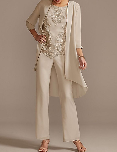 cheap Mother of the Bride Dresses-Pantsuit / Jumpsuit Mother of the Bride Dress Elegant Jewel Neck Floor Length Chiffon 3/4 Length Sleeve with Beading Appliques 2020
