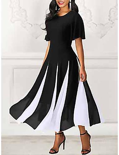 economico Vestiti vintage-Per donna Maxi Linea A Vestito - Manica corta A strisce Primavera estate 2020 Nero M L XL XXL XXXL