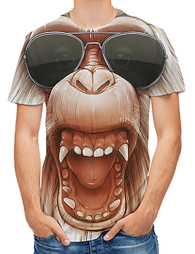 billige Herreklær-Herre T-skjorter T skjorte 3D-utskrift Grafisk 3D Orangutang Store størrelser Trykt mønster Kortermet Daglig Topper Stein Gatemote Gul Rosa Brun