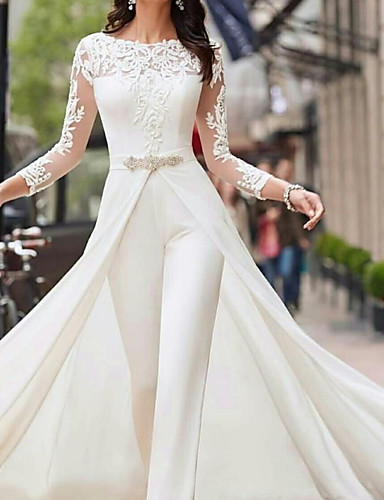 cheap Wedding Dresses-Two Piece Jumpsuits A-Line Wedding Dresses Jewel Neck Court Train Polyester Long Sleeve Formal Plus Size with Lace Sashes / Ribbons Crystals 2020