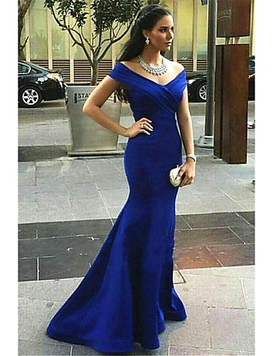 cheap Evening Dresses-Mermaid / Trumpet Elegant Minimalist Formal Evening Dress V Neck Sleeveless Sweep / Brush Train Nylon with Criss Cross Ruched 2020