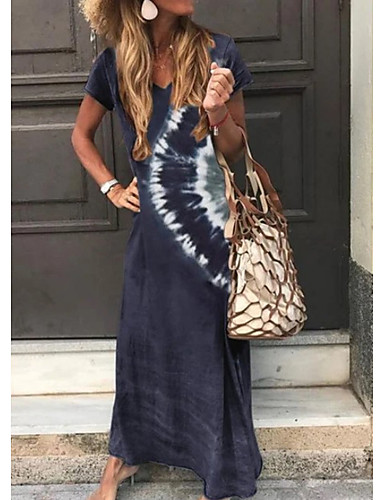 cheap Summer Dresses-Women's A-Line Dress Maxi long Dress - Short Sleeve Tie Dye Print Summer V Neck Classic & Timeless Holiday Vacation Loose 2020 Green Dark Gray Brown Navy Blue S M L XL XXL XXXL