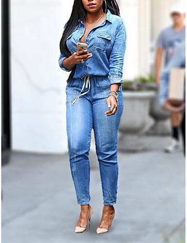 cheap More To Love-Women's Plus Size Daily Shirt Collar Light Blue Pencil Jumpsuit, Solid Colored XL XXL XXXL Denim Long Sleeve