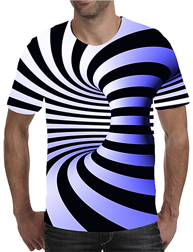 cheap Men's New Ins-Men's Plus Size Geometric 3D Print T-shirt Street chic Exaggerated Holiday Going out Round Neck Blue / Purple / Red / Yellow / Green / Light Green / Rainbow / Short Sleeve