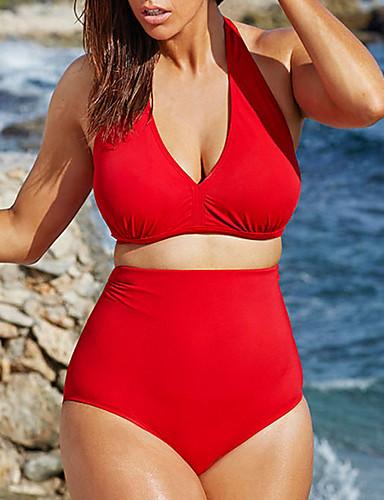 povoljno Veći konfekcijski brojevi Kupaći kostimi-Žene Dva dijela Tankini Kupaći kostim Kontrola trbuščića Jednobojni Kupaći kostimi Kupaći kostimi Crn Plava Red