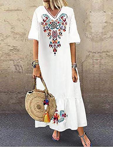 cheap Pretty Dresses Best Seller-Women's Plus Size Maxi Dress - Short Sleeves Tribal Print Summer V Neck Boho Holiday Vacation Beach Loose 2020 White Red Navy Blue M L XL XXL XXXL XXXXL XXXXXL