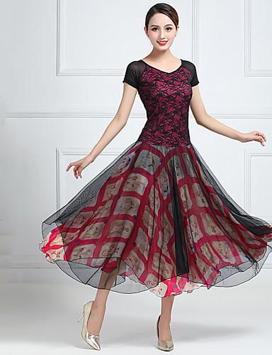 cheap Ballroom Dancewear-Ballroom Dance Dress Split Joint Women's Training Performance Short Sleeve Chiffon Lace Tulle