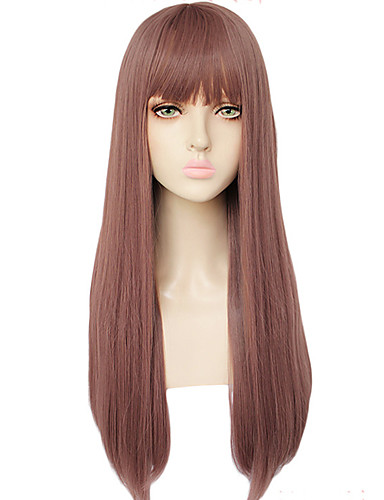 cheap Cosplay Wigs-GAGA LADY Cosplay Wigs Women's Straight bangs 26 inch Heat Resistant Fiber kinky Straight Brown Brown Anime