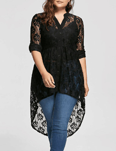 cheap Plus Size Dresses-Women's A-Line Dress Short Mini Dress - Long Sleeve Solid Colored Lace V Neck Lace Slim Black XL XXL XXXL XXXXL XXXXXL