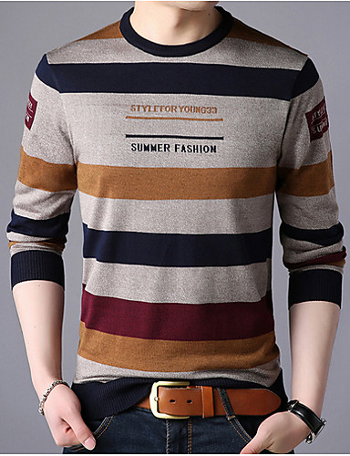 cheap Men's Sweaters & Cardigans-Men's Striped Long Sleeve Pullover Sweater Jumper, Round Neck Yellow / Red / Navy Blue US32 / UK32 / EU40 / US34 / UK34 / EU42 / US36 / UK36 / EU44