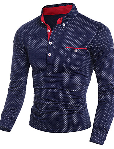 cheap Men's New Ins-Men's Polka Dot Print Slim Polo Shirt Collar White / Black / Navy Blue / Long Sleeve