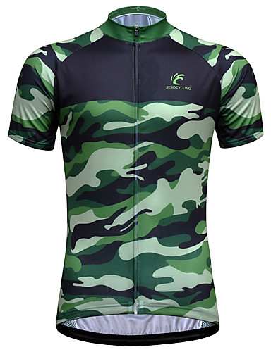 cheap Cycling Jerseys-JESOCYCLING Men's Short Sleeve Cycling Jersey Green Camo / Camouflage Bike Jersey Top Mountain Bike MTB Road Bike Cycling Breathable Quick Dry Ultraviolet Resistant Sports Clothing Apparel / Stretchy