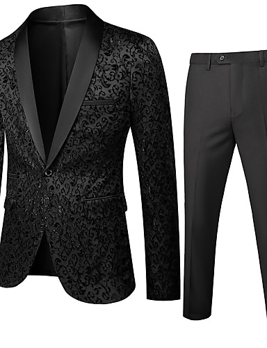 billige Dress-Herre Rundet jakkeslag drakter Ensfarget Hvit / Svart / Blå US32 / UK32 / EU40 / US34 / UK34 / EU42 / US36 / UK36 / EU44