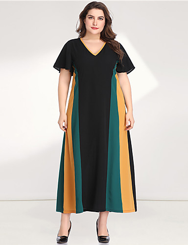 cheap Plus Size Dresses-Women's A-Line Dress Maxi long Dress - Long Sleeve Color Block Solid Color Patchwork V Neck Casual Elegant Daily Going out Flare Cuff Sleeve Green XL XXL XXXL XXXXL XXXXXL