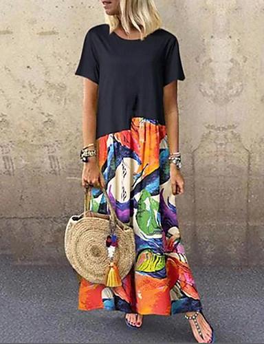 cheap Pretty Dresses Best Seller-Women's Plus Size Kaftan Dress Maxi long Dress - Half Sleeve Print Print Summer Casual Holiday Vacation Loose Black S M L XL XXL XXXL XXXXL XXXXXL