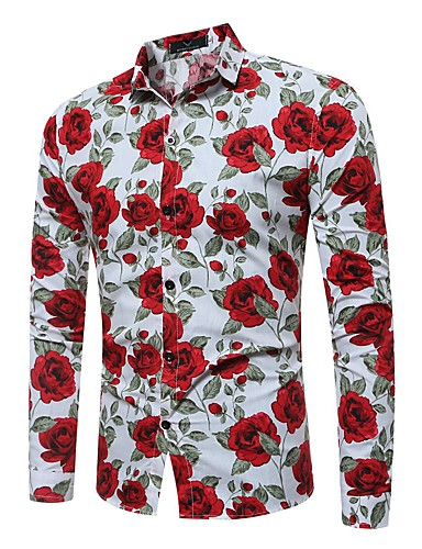 cheap Men's Shirts-Men's Floral Print Slim Shirt Daily Weekend Classic Collar White / Black / Spring / Fall / Long Sleeve
