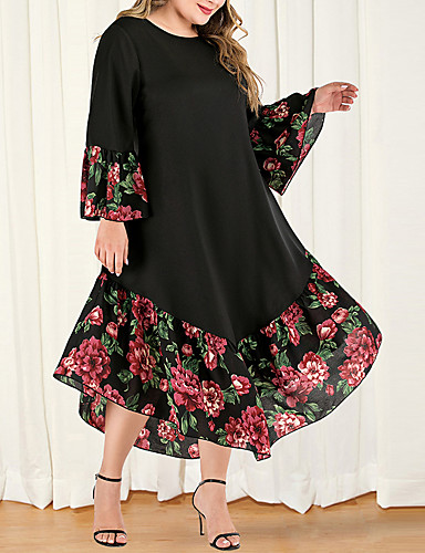cheap Plus Size Dresses-Women's A-Line Dress Maxi long Dress - Long Sleeve Floral Color Block Solid Color Patchwork Plus Size Casual Boho Daily Going out Flare Cuff Sleeve Loose Black L XL XXL XXXL XXXXL