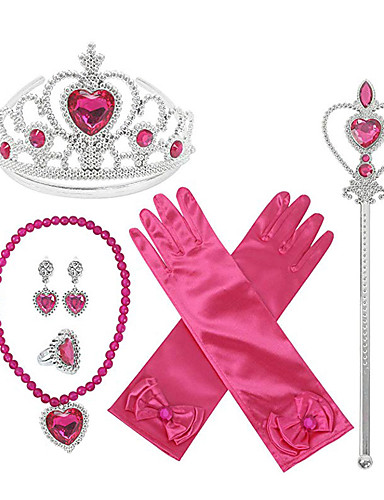 cheap Movie & TV Theme Costumes-Princess Elsa Gloves Necklace Outfits Girls' Movie Cosplay Halloween Fuchsia 1 Ring Gloves Crown Children's Day Masquerade Rhinestone Fabric Plastic / Earrings / Wand / Earrings / Wand