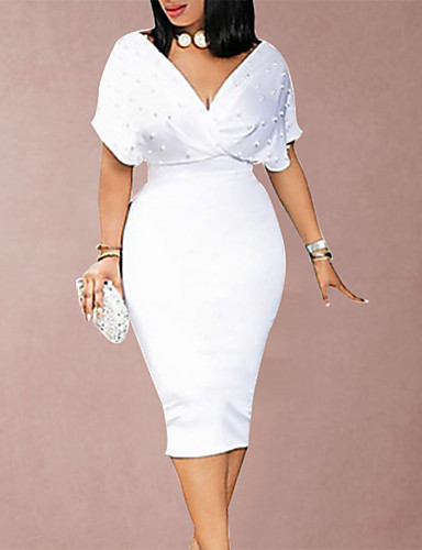 cheap Plus Size Collection-Women's Sheath Dress - Short Sleeve Solid Colored Beaded Spring Summer Deep V Slim Wine White Black Blushing Pink S M L XL XXL XXXL