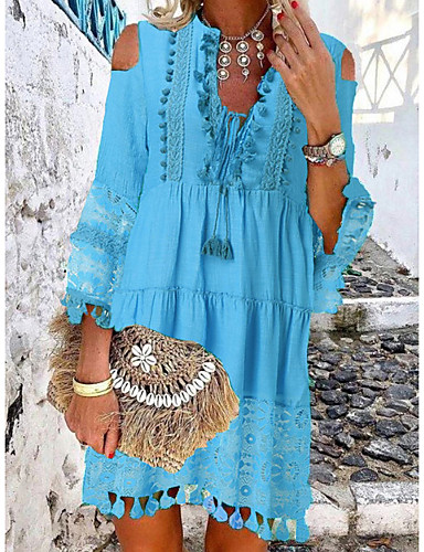 cheap New Arrivals-Women's Mini Shift Dress - 3/4 Length Sleeve Lace Tassel Fringe Cold Shoulder Summer Deep V Casual Boho Holiday Vacation Beach 2020 White Blue Yellow Blushing Pink Beige S M L XL XXL XXXL