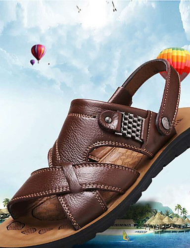 cheap Men's Shoes Hot Sale-Men's Cowhide Summer Classic Sandals Golf Shoes / Walking Shoes Breathable Booties / Ankle Boots Yellow / Brown / Black