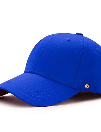 cheap Men's Hats-Unisex Baseball Cap PU Cotton Basic - Solid Colored All Seasons White Black Blue